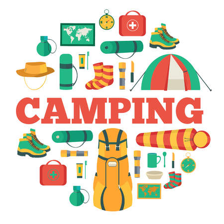 sleeping bags: Camping equipment set circle infographics template concept. Icons design for your product or design, web and mobile applications. Vector flat with long shadow illustration on blue background