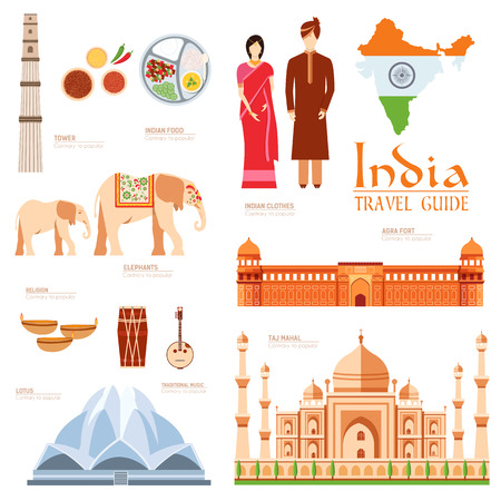 culture character: Country India travel vacation guide of goods, places and features. Set of architecture, fashion, people, items, nature background concept. Infographics template design for web and mobile on flat style