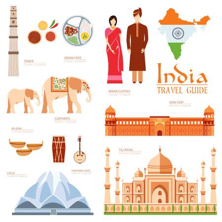 turismo: Paese India Guida di viaggio vacanza di beni, i luoghi e le caratteristiche. Set di architettura, moda, persone, oggetti, natura concetto di fondo. Infografica modello di progettazione per il web e mobile su stile piatto Vettoriali