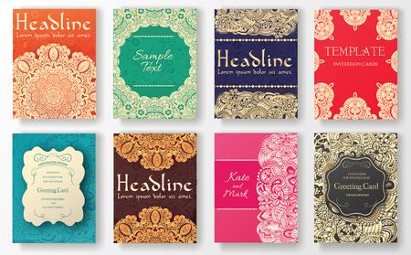 свадьба: Набор традиционных страниц листовка орнамента иллюстрации концепции. Урожай искусство традиционный ислам, арабский, индийский, пуфик мотивы, элементы. Вектор декоративные ретро поздравительную открытку или приглашение дизайн. Иллюстрация