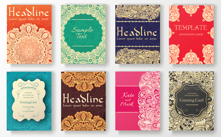 wedding: Geleneksel el ilanı sayfalarının illüstrasyon kavramı süslemektedir. Vintage sanat, geleneksel İslam, arapça, Hint, osmanlı motifleri, elemanları. Vektör dekoratif Retro tebrik kartı ya da davetiye tasarımı. Çizim
