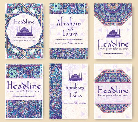 Set of old fairy tail flyer pages ornament illustration concept. Vintage art traditional, Islam, arabic, indian, ottoman motifs, elements. Vector decorative retro greeting card or invitation design. Vectores