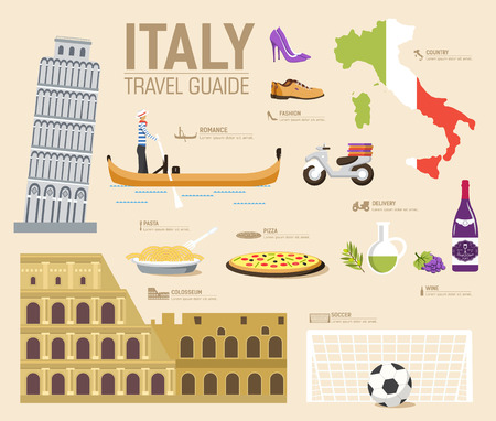País Italia guía de viajes de vacaciones de bienes, lugares y accidentes. Conjunto de arquitectura, la moda, la gente, los artículos, el concepto de fondo de la naturaleza. Diseño del modelo de infografía para web y móvil en el estilo plano