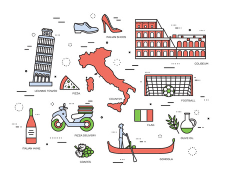 italian tradition: Country Italy trip guide of goods, places in thin lines style design. Set of architecture, fashion, people, items, nature background concept. Infographic template for web and mobile on vector flat Illustration