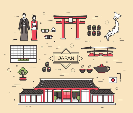 travel guide: Country Japan trip of goods, places and features in thin lines style design. Set of architecture, fashion, people, items, nature background concept. Infographic template  for web and mobile on flat