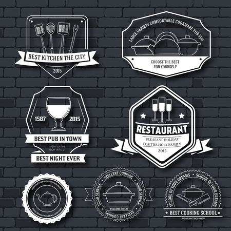 kitchen equipment: Kitchen equipment label template set. Emblem element for your product or design, web and mobile applications with text. Vector illustration with thin lines isolated icons on stamp symbol Illustration