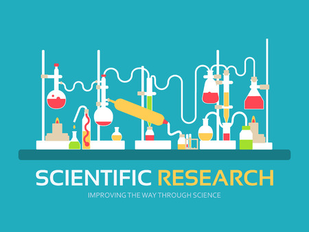 Scientific research in flat design background concept. laboratory equipment supplies with chemistry tools. Icons for your product or illustration, web and mobile applications