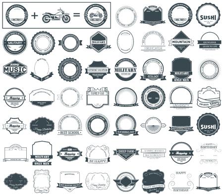 ラベルやロゴタイプ概念設定を確認します。レトロなタイポグラフィ、バッジ、ロゴ、枠線、リボン、エンブレム、スタンプ、およびオブジェクト