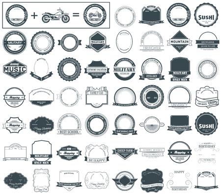 vehicle graphics: Make your labels or Logotypes concept set. Retro typography, badges, logos, borders, ribbons, emblem, stamp, and Objects. Vector design templates