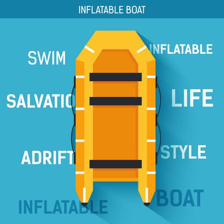 persevere: Boat for rafting or swimming on the water. Vector icon illustration background. Colorful template for you design, web and mobile applications concept