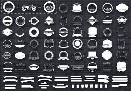 Fai la tua etichette o insieme logotipi concetto di raccolta. Retro stile tipografia, distintivi, telaio, i loghi, i bordi, nastri, emblema, banner, simbolo, il timbro, e oggetti. modelli di progettazione vettoriale