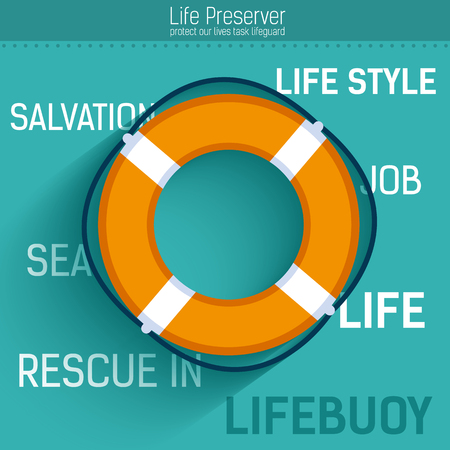 rescue: Lifebuoy for rescue salvation life.  Vector icon illustration background. Colorful template for you design, web and mobile applications concept