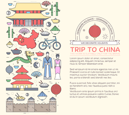 chinese dress: Country China travel vacation guide of goods, places in thin lines style design. Set of architecture, fashion, people, nature background concept. Infographic template for web and mobile on vector flat Illustration