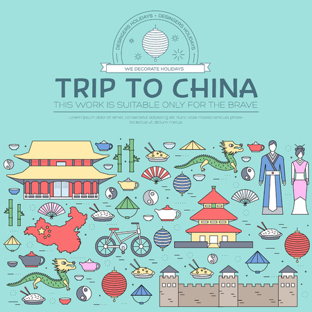Country China travel vacation guide of goods, places in thin lines style design. Set of architecture, fashion, people, nature background concept. Infographic template for web and mobile on vector flat Ilustração