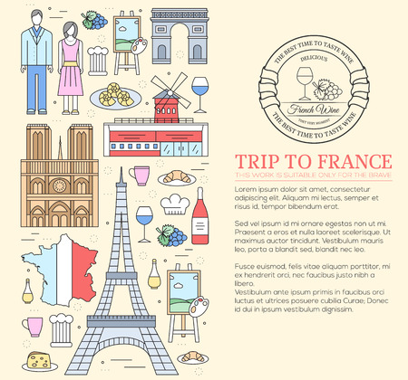 notre: Country France trip guide of goods, places in thin lines style design. Set of architecture, fashion, people, nature background concept. Infographic template design for web and mobile on vector flat