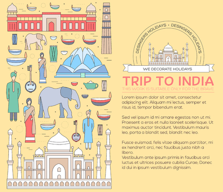 kurta: Country India travel vacation guide of goods, places and features. Set of architecture, fashion, people, items, nature background concept. Infographics template design for web and mobile on thin lines