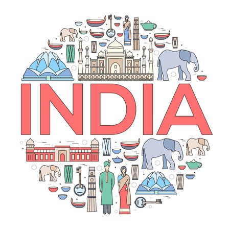 travel features: Country India travel vacation guide of goods, places and features. Set of architecture, fashion, people, items, nature background concept. Infographics template design for web and mobile on thin lines