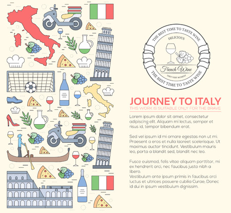travel features: Country Italy travel vacation guide of goods, places and features. Set of architecture, fashion, people, items, nature background concept. Infographic template design for web and mobile on thin lines
