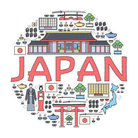travel features: Country Japan travel vacation guide of goods, places and features. Set of architecture, fashion, people, items, nature background concept. Infographic template design for web and mobile on thin lines