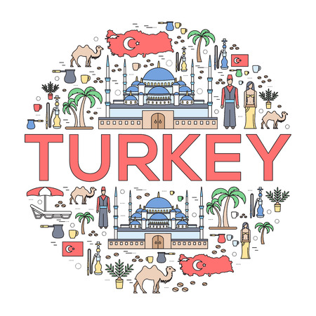 travel features: Country Turkey travel vacation guide of goods, places and features. Set of architecture, fashion, people, items, nature background concept. Infographic template for web and mobile on thin lines style