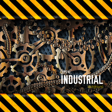 attention: mechanical realistic rusty gears attention behind danger warning attention tape. Vector illustration design concept