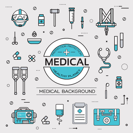 doctor exam: set flat medical icons illustration concept. Vector background with medicine label. Thin lines outline design