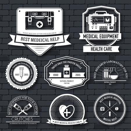 rescue: medical label template set. Emblem element for your product, logo or design, web and mobile applications with text. Vector illustration with thin lines isolated icons on stamp symbol