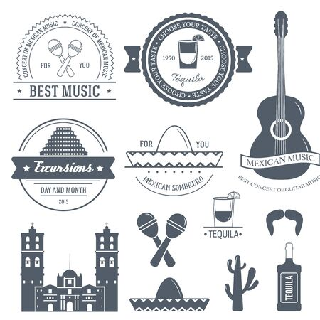 logo music: Country Mexico label template of emblem element for your product or design, web and mobile applications with text. Vector illustration with thin lines isolated icons on stamp symbol. Illustration