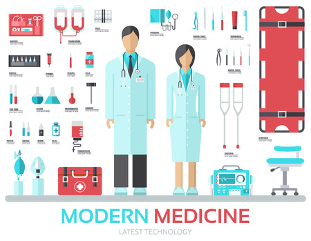 medicine chest: Modern medical equipment in flat design background concept. Infographic elements set with doctor and nurse around medicine tools. Icons for your product or illustration, web and mobile applications.
