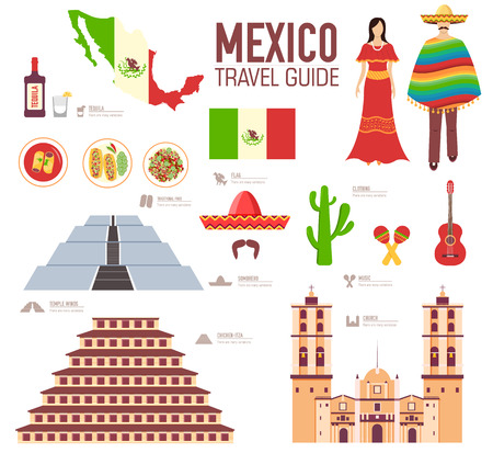 nachos: Country Mexico travel vacation guide of goods, places and features. Set of architecture, food, fashion, items, nature background concept. Infographics template design for web and mobile. On flat style Illustration