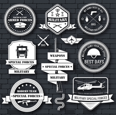 army: military army set label template of emblem element for your product, logo or design, web and mobile applications with text. Vector illustration with thin lines isolated icons on stamp symbol