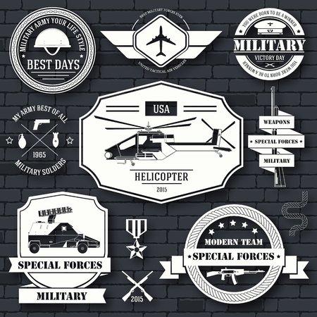 Plantilla ajustada de la etiqueta militar del elemento emblema para su producto o diseño, logotipo, elemento, aplicaciones web y móviles con el texto. Ilustración del vector con líneas finas iconos aislados en símbolo sello