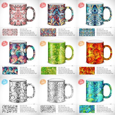 Print design: collection set of abstract colorful art design for print on a cup. Vector art traditional, Islam, arabic, indian, ottoman motifs, elements