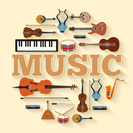 Music instruments circle infographics template concept. Icons design for your product or design, web and mobile applications. Vector flat with long shadow illustration background Vectores