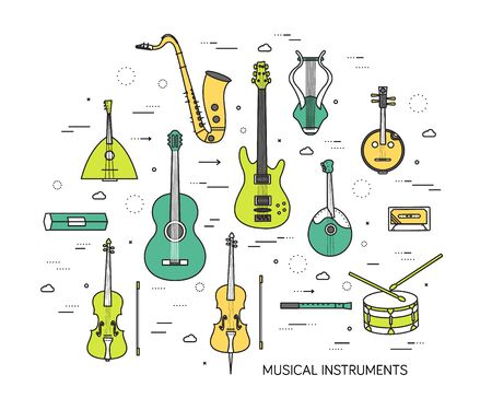 classical guitar: Thin line set of musical instruments modern illustration concept. Infographic way from melody to concert. Icons on background. Flat vector template design for web and mobile application
