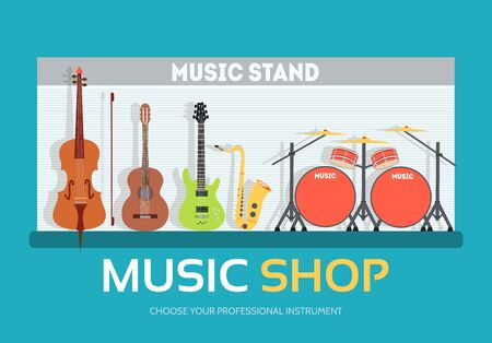 piano roll: Music shop in flat design background concept.  Stand with musical instruments collection set. Icons for your product or illustration, web and mobile applications