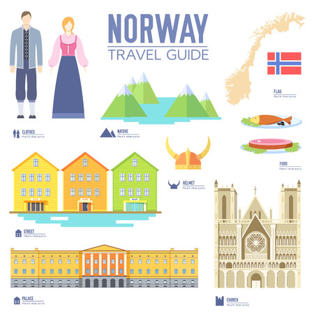 travel features: Country Norway travel vacation guide of goods, places and features. Set of architecture, people, culture, icons background concept. Infographics template design for web and mobile. On flat style