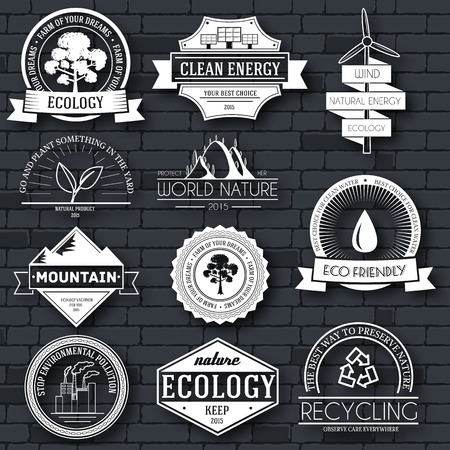 clean energy: Ecology set label template of emblem element for your product or design, web and mobile applications with text. Vector illustration with thin lines isolated icons on stamp symbol Illustration