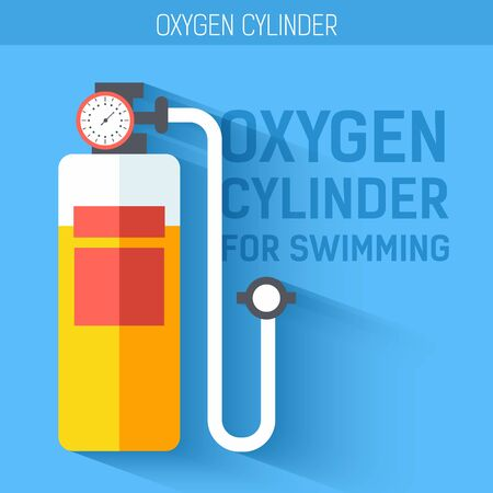 tank: Oxygen cylinder for swimming.  Vector icon illustration background. Colorful template for you design, web and mobile applications concept