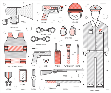 police equipment: police uniform and set protection staff equipment in the closet office. On flat in thin lines style design background concept. Vector illustration for colorful template, web and mobile applications