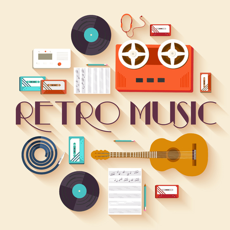 tape: Retro equipment music set circle infographics template concept. Icons design for your product or design, web and mobile applications. Vector flat with long shadow illustration on blue background