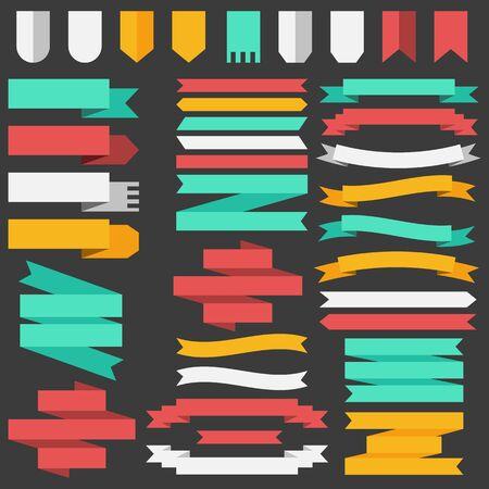 Insieme dei nastri colorati e gli elementi per il concetto di illustrazione. Modello per web e mobile. disegno di sfondo.