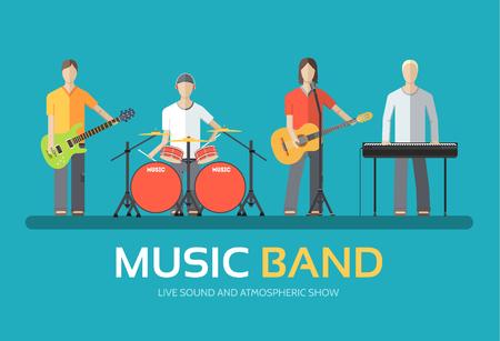 concierto de rock: Banda de música en el diseño plano del concepto del fondo. Melódico cuarteto concierto musical de los músicos. Iconos para su producto o ilustración, web y aplicaciones móviles Vectores