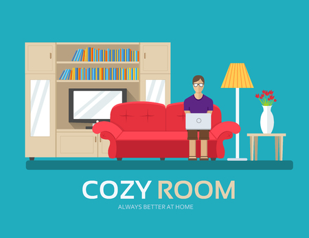 livingroom: Cozy house in flat design background concept. The guy sitting on the couch in the room and around furniture. Icons for your product or illustration, web and mobile applications.