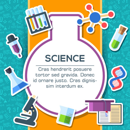 science icons: Back to school elements on blue background poster in sticker style design. Vector illustration template card illustration concept Illustration