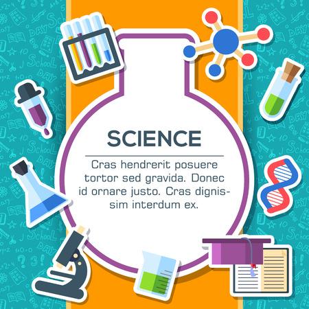 scientists: Volver a elementos de la escuela sobre fondo azul cartel en el diseño de estilo de etiqueta. ilustración vectorial tarjeta de plantilla de ilustración de concepto Vectores
