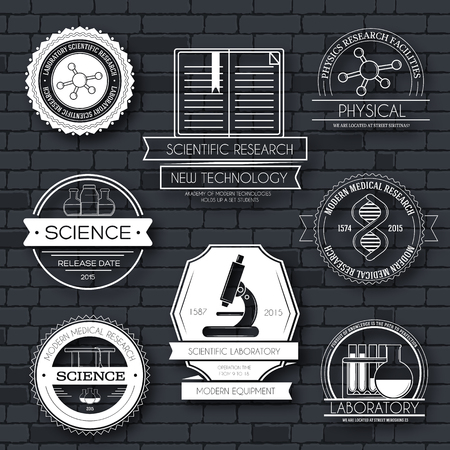 medical student: Science label template set. Emblem element for your product or design, web and mobile applications with text. Vector illustration with thin lines isolated icons on stamp symbol