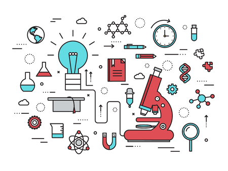 Thin line scientific idea modern illustration concept. Infographic way from thinking the idea to the research. Icons isolated on white background. Flat vector template design for web and mobile