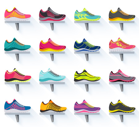shoe: big flat illustration collection set of sneakers running, walking, shopping, style backgrounds. Vector concept elements icons. Colorful template for you design, poster, web and mobile applications