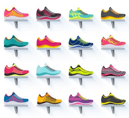 grande collezione illustrazione piatta set di scarpe da ginnastica corsa, passeggiate, shopping, sfondi di stile. Elementi vettoriali Concetto icone. modello colorato per la progettazione, poster, web e applicazioni mobili Vettoriali